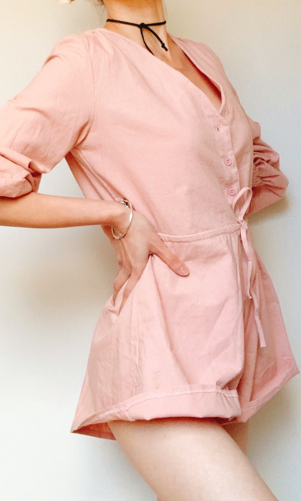 CHARLOTTE MINI LONG SLEEVE JUMPSUIT IN PINK - DRESS - Koogal.com.au