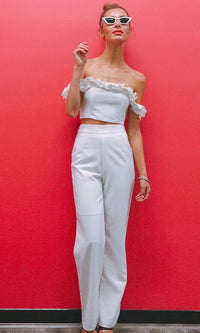 BOSS LADY HIGH WAISTED TAILOR SUIT PANTS IN WHITE - BOTTOMS - Koogal.com.au