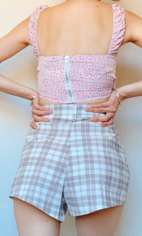 NATALIA RETRO HIGH WAIST SHORTS IN LIGHT PINK - BOTTOMS - Koogal.com.au