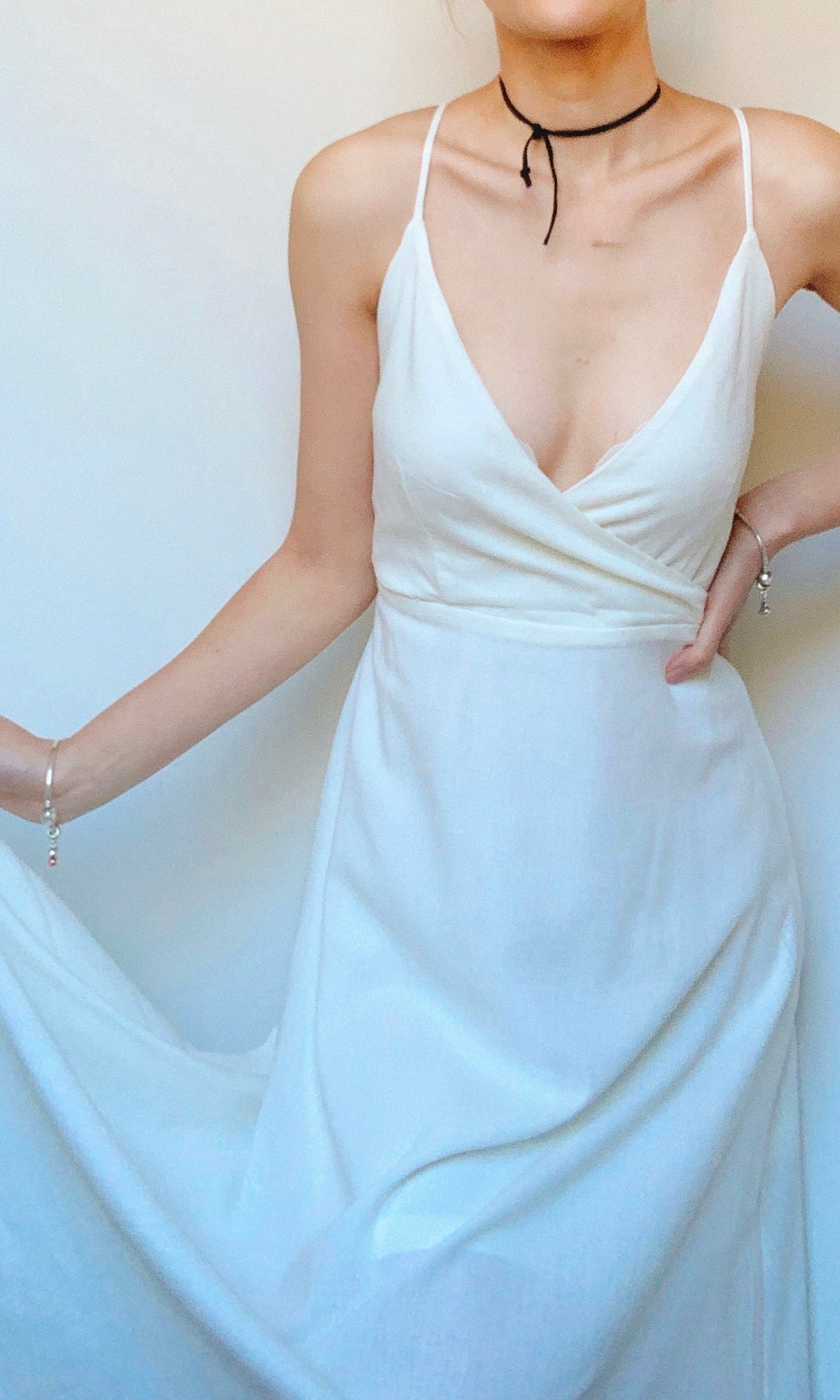 AFTERNOON DEW LINEN MIDI DRESS BACKLESS IN WHITE