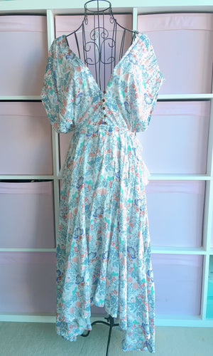 PORCELAIN FLOWY MAXI DRESS