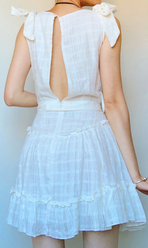 AADA V NECK TIED UP BOW DRESS IN WHITE - DRESS - Koogal.com.au