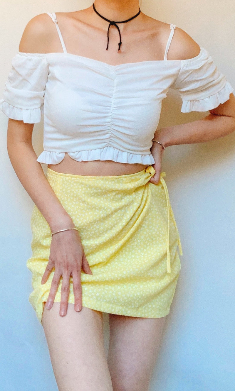 RABY OFF THE SHOULDER CROP TOP in WHITE - TOP - Koogal.com.au