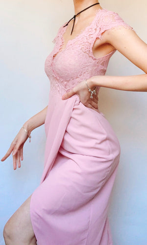 HOLLY LACE MIDI DRESS IN BABY PINK - DRESS - Koogal.com.au