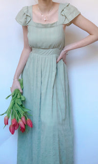 BUTTERFLY SLEEVE MAXI DRESS IN PASTEL GREEN - Koogal