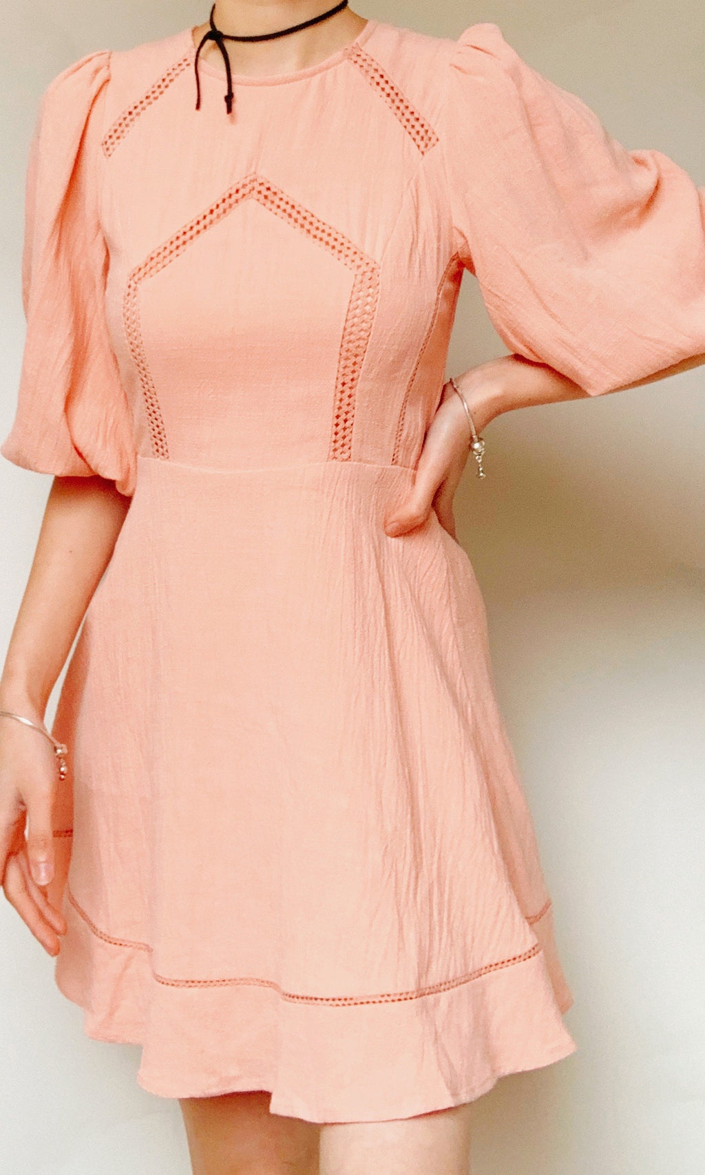 LANDIA LONG SLEEVE LINEN MINI DRESS IN PINK - DRESS - Koogal.com.au