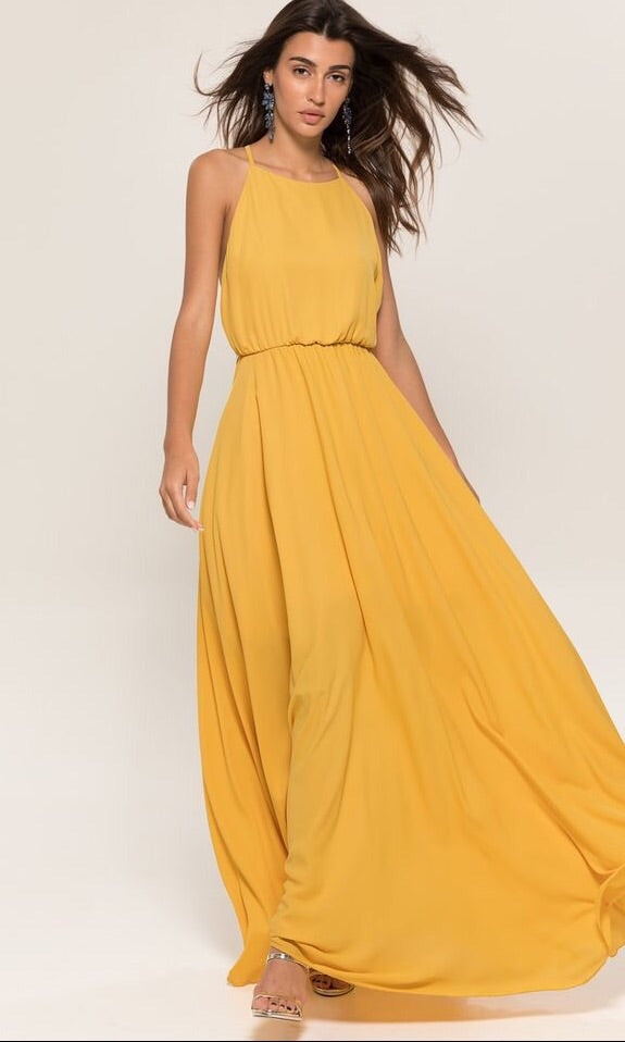 GOLDEN SUNFLOWER MAXI DRESS in MUSTARD