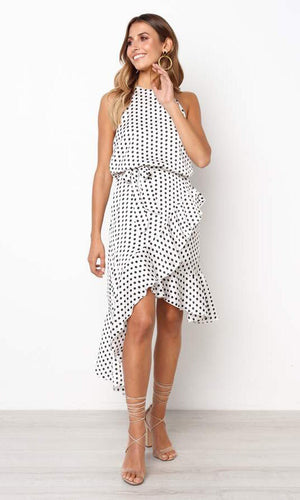 BEILEY HIGH LOW MIDI DRESS IN POLKA DOT - DRESS - Koogal.com.au