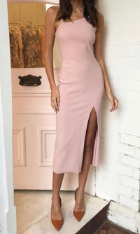 MERMAID BODYCON MIDI DRESS IN BABY PINK - DRESS - Koogal.com.au