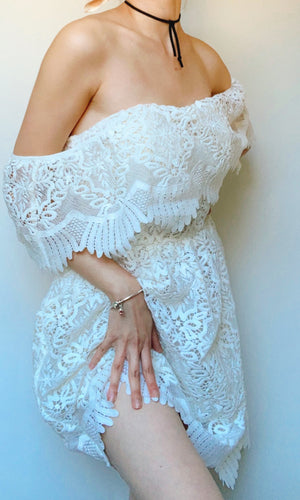 EMMA OFF THE SHOULDER LACE DRESS IN WHITE - DRESS - Koogal.com.au