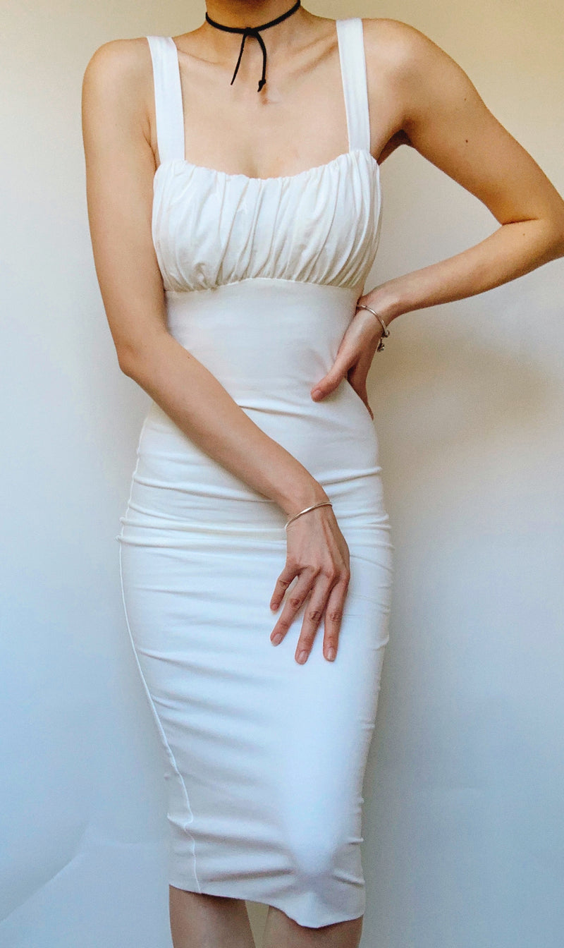 MARILYN BODYCON MIDI DRESS IN WHITE - DRESS - Koogal.com.au