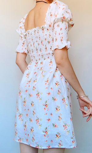 LAYLA LINEN FLORAL MINI DRESS WITH PUFFY SLEEVES - DRESS - Koogal.com.au