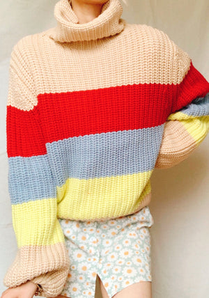 OVER THE RAINBOW TURTLE NECK KNIT JUMPER - TOP - Koogal.com.au