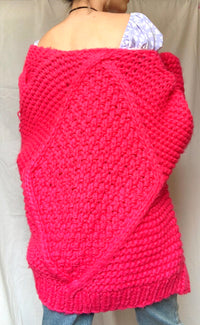 KIKI CHUNKY KNITTED CARDIGAN in HOT PINK -  - Koogal.com.au
