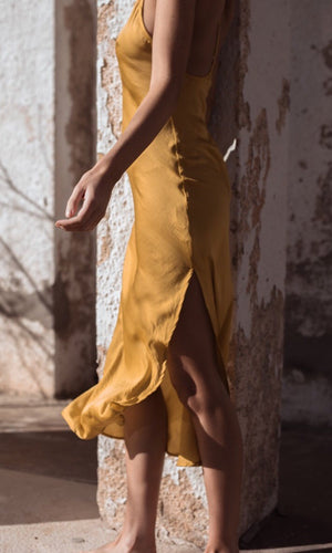 HELIOS SILKY FLOWY MIDI DRESS IN YELLOW - DRESS - Koogal.com.au