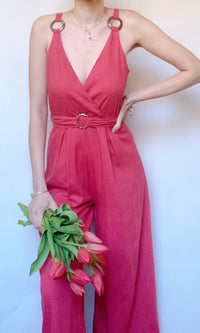 NINI LONG JUMPSUIT ROMPER IN BURNT ORANGE - jumpsuit - Koogal.com.au