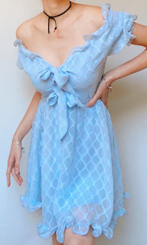 ALICE OFF THE SHOULDER DRESS IN BLUE - DRESS - Koogal.com.au