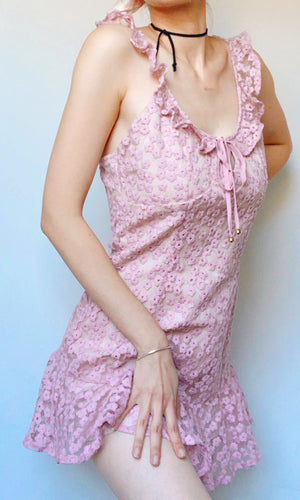 ABBY FLORAL MESH MINI DRESS IN PINK - DRESS - Koogal.com.au
