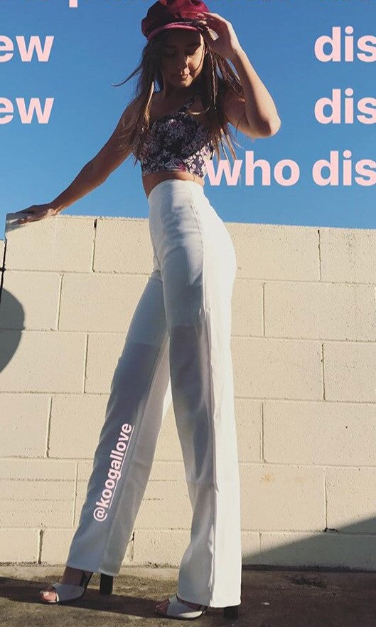 WHITE HIGH WAISTED TAILOR PANTS - BOTTOMS - Koogal.com.au