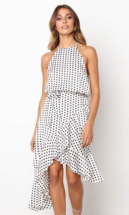 BEILEY HIGH LOW MIDI DRESS IN POLKA DOT