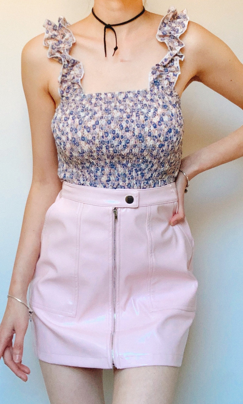 BABY FAUX LEATHER MINI SKIRT IN BABY PINK - BOTTOMS - Koogal.com.au