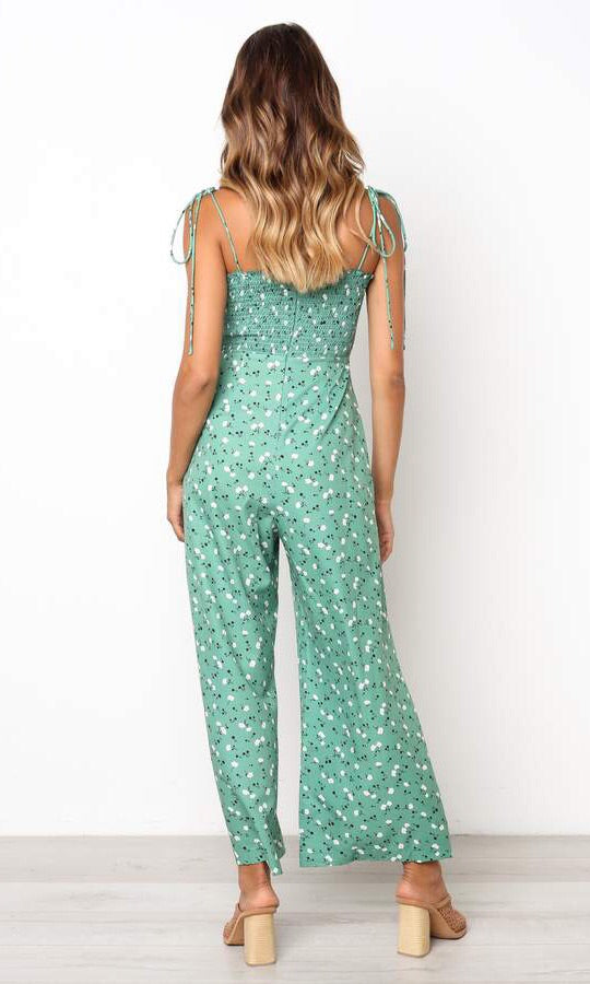 DAKOTA TIED UP FLORAL LONG JUMPSUIT - jumpsuit - Koogal.com.au