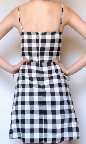 MARA MINI DRESS in BLACK AND WHITE CHECKED - Koogal