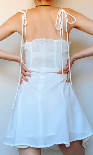 ISABELLA TIED UP BOW DRESS IN WHITE - DRESS - Koogal.com.au