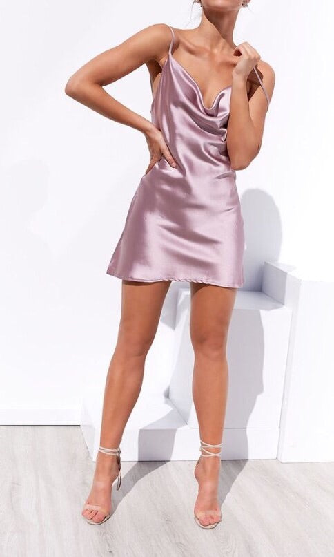 CHIARA SATIN SILK MINI SLIP DRESS in LIGHT PINK - DRESS - Koogal.com.au
