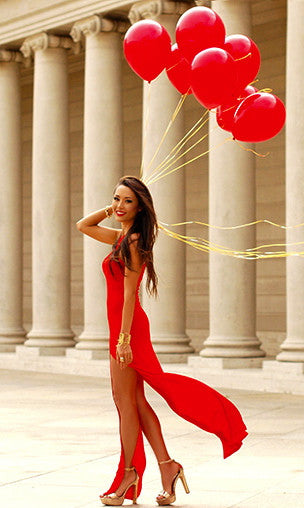 DOUBLE SLIT MAXI DRESS in RED - Koogal