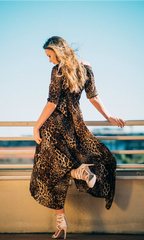 BIG KITTEN MAXI DRESS in LEOPARD
