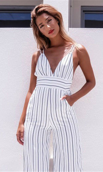 BACKLESS 3/4 JUMPSUIT IN WHITE STRIPE