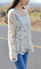 AURORA LONG SLEEVE LACE BLOUSE TOP