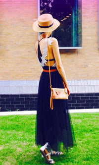 MOONRISE TULLE MAXI SKIRT in BLACK - BOTTOMS - Koogal.com.au