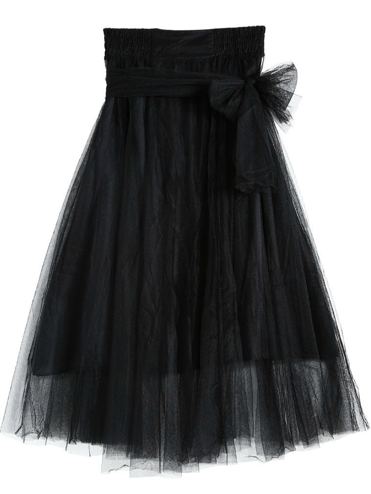 MOONRISE TULLE MAXI SKIRT in BLACK