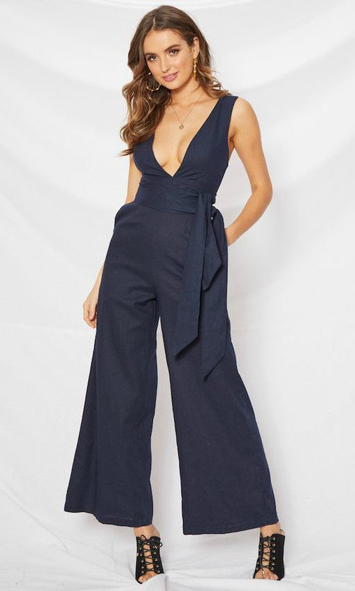 RIRI NAVY BLUE LONG JUMPSUIT