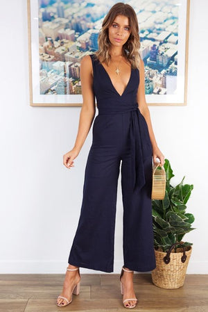 RIRI NAVY BLUE LONG JUMPSUIT - jumpsuit - Koogal.com.au