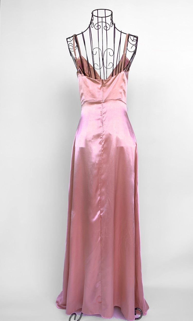 SATIN CREPE PINK PROM DRESS WITH SIDE SLIT - DRESS - Koogal.com.au