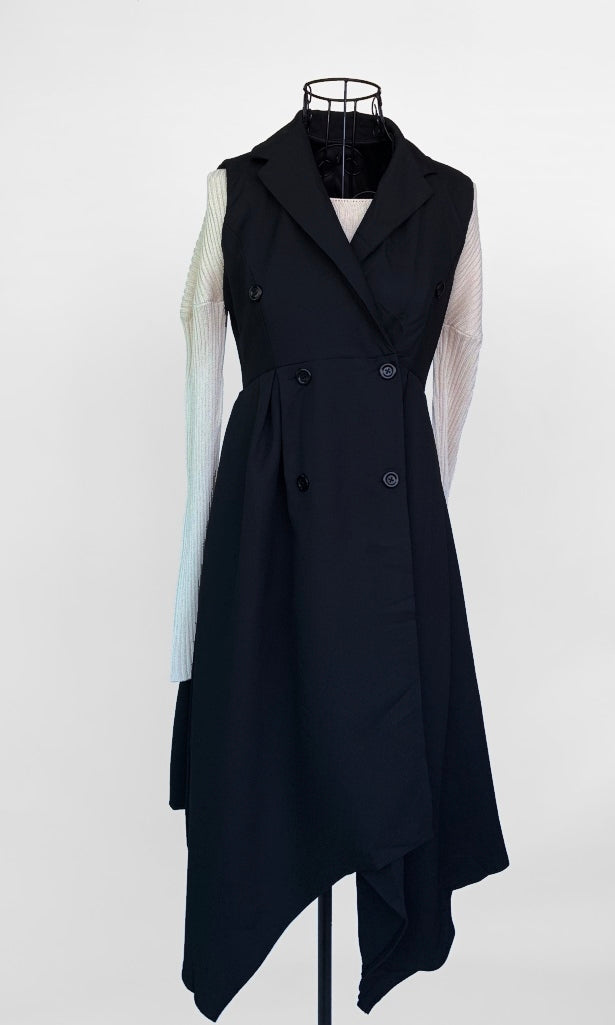BLACK SLEEVELESS BLAZER MIDI DRESS - TOP - Koogal.com.au