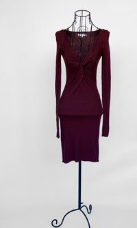 MAROON TWISTED VNECK KNIT DRESS - DRESS - Koogal.com.au