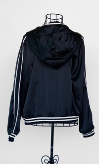 AMY CLASSIC HOODED BOMBER JACKET IN BLACK - TOP - Koogal.com.au