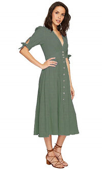 BREEZY LINEN BUTTON UP MIDI DRESS WITH BOW SLEEVES - DRESS - Koogal.com.au