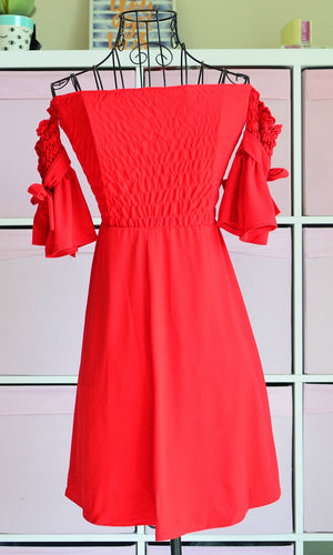 HIBISCUS OFF THE SHOULDER MINI DRESS in RED - DRESS - Koogal.com.au