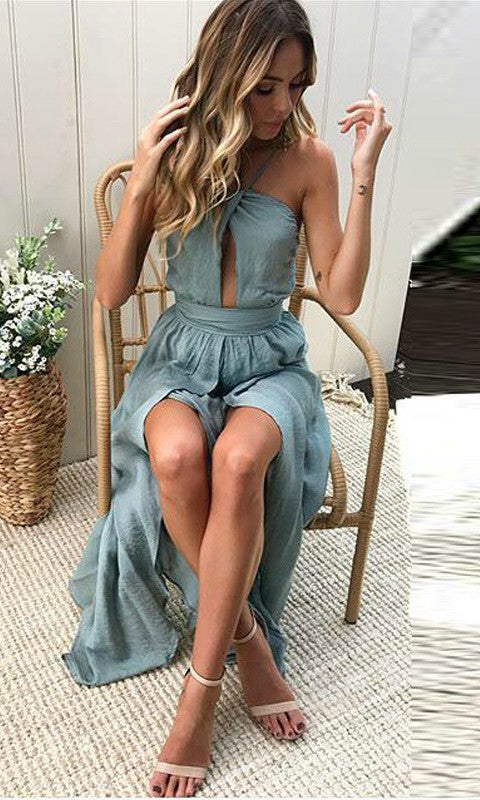 AIRY PASTEL GREY BACKLESS MAXI BOHO BEACH PROM DRESS