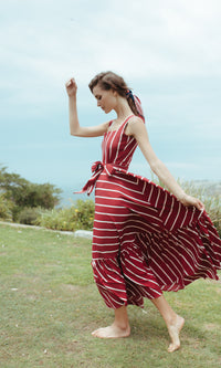 CANDY CANE RED AND WHITE STRIPE MAXI DRESS - DRESS - Koogal.com.au