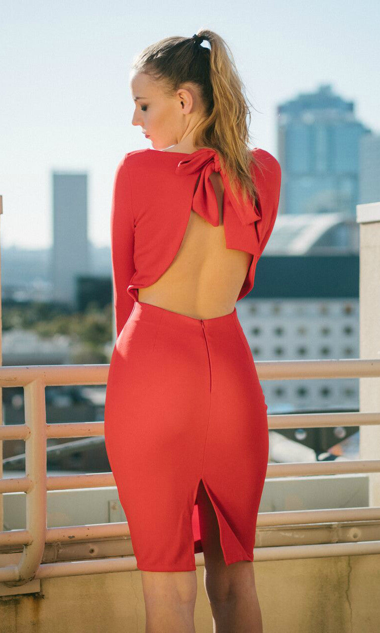 DIANA BACKLESS BODYCON DRESS in RED - Koogal