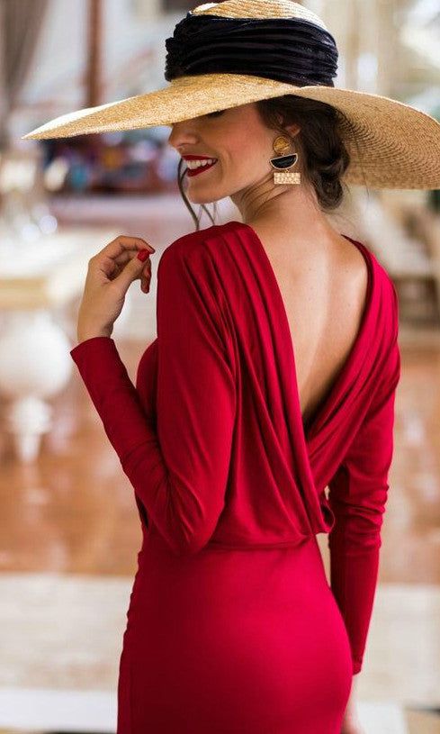 DANA BACKLESS RED BODY DRESS - Koogal