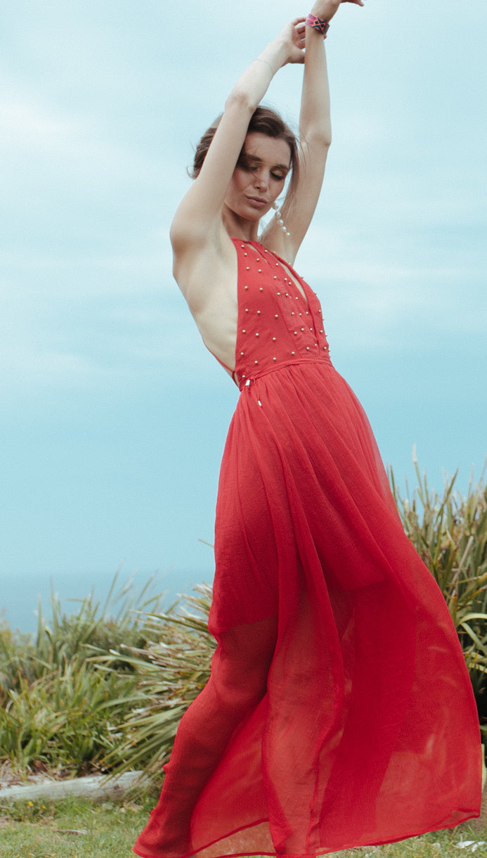 FLAME STUDDED BACKLESS MAXI BOHO BEACH PROM DRESS in RED