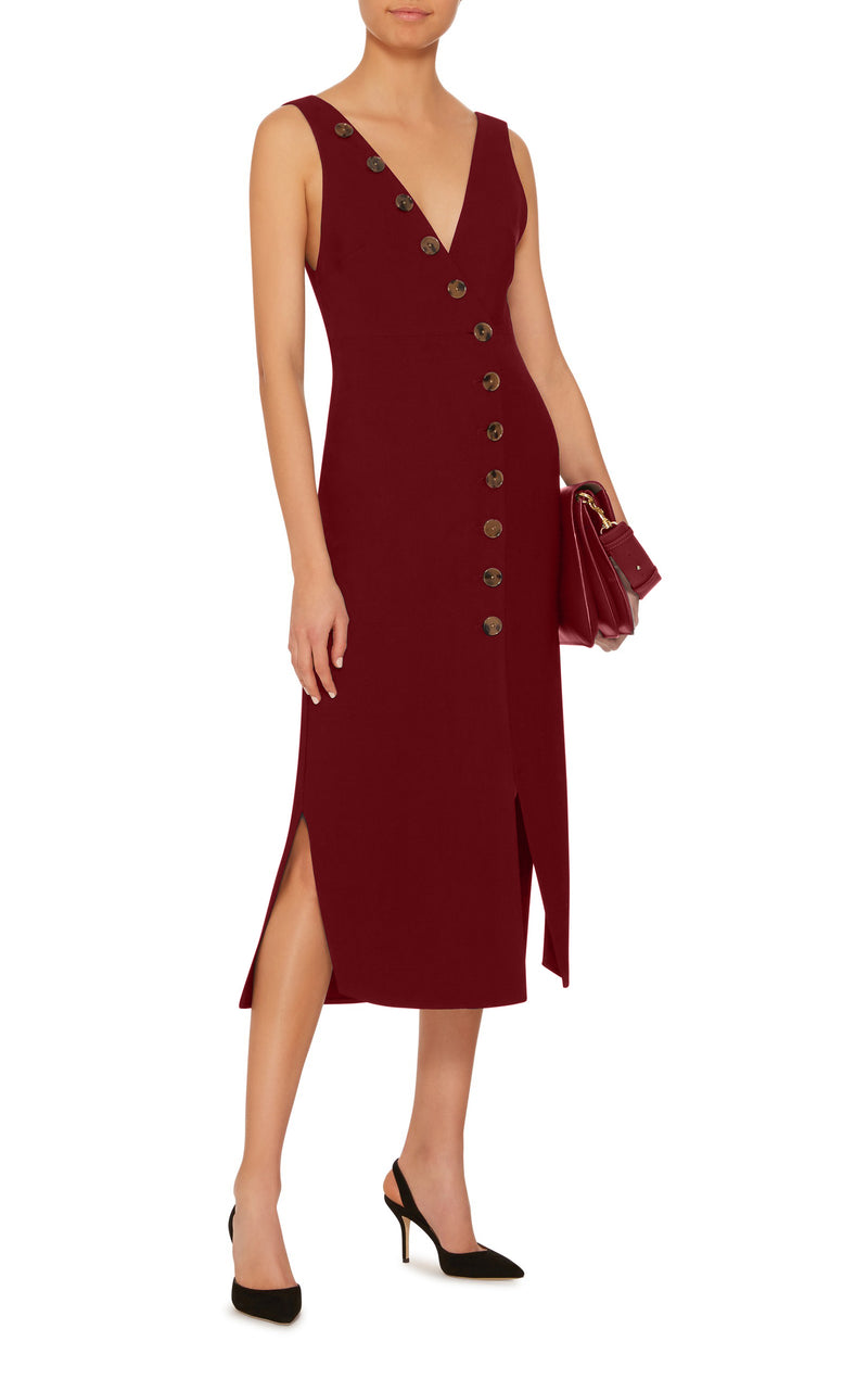BUTTON UP LINEN MIDI DRESS IN BURGUNDY