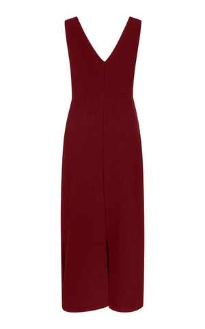 BUTTON UP LINEN MIDI DRESS IN BURGUNDY - DRESS - Koogal.com.au